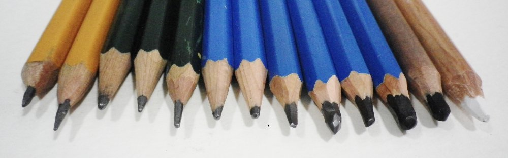 Drawing pencils ranging from