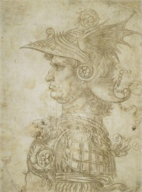 Leonardo da Vinci, Bust of a warrior in profile, Florence, Italy, AD 1475-80 © The Trustees of the British Museum