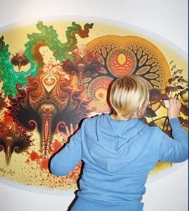 Installing the vinyl mural