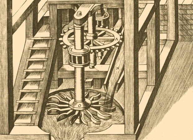 Detail of the mechanics of a Watermill by Ramelli; 'T' is a wooden lantern pinion.