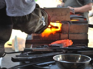 Forfe-welding the iron/steel billets for making blades
