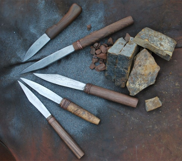 Our knives with the ores they came from