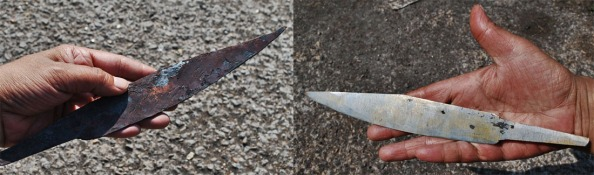 My seax - freshly forged on the left, and during the first stages of grinding and finishing, right.