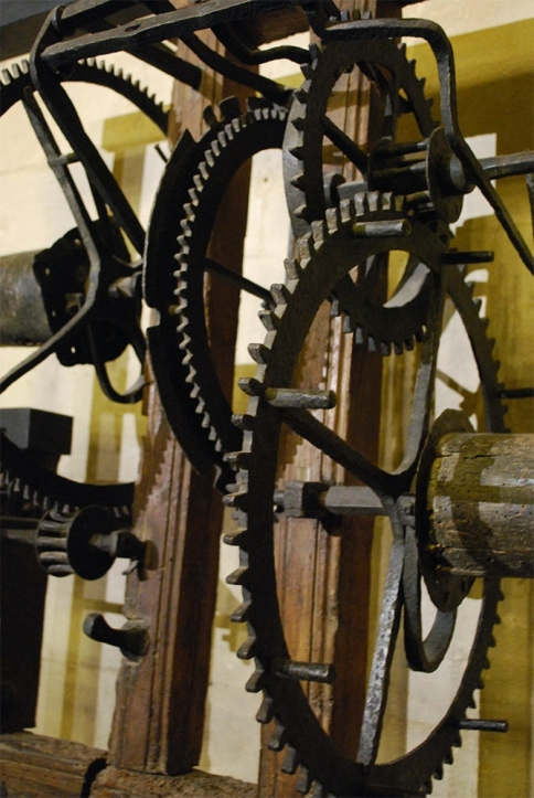 Massive iron gears from one of the tower-clock working at the MHS Oxford