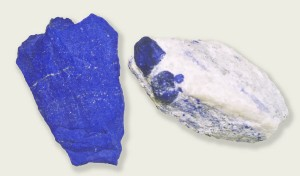 Raw lapis lazuli samples from Sar-e Sang: high quality rock (left), and lazutite crystals in calcite matrix (right).