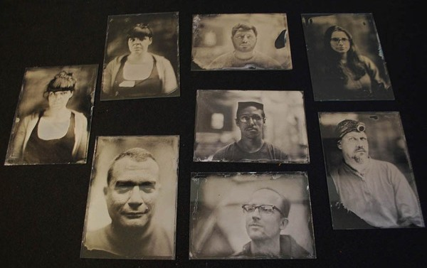 Some of the wet-plate pictures taken by participants on John Brewer's workshop