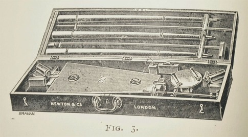 Newton's twin-elliptiv harmonograph in its box, engraving from Harmonic Vibrations c. 1909