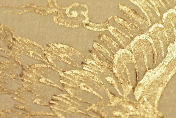 Magnified detail showing the texture of shell gold. Image copyright Anita Chowdry.