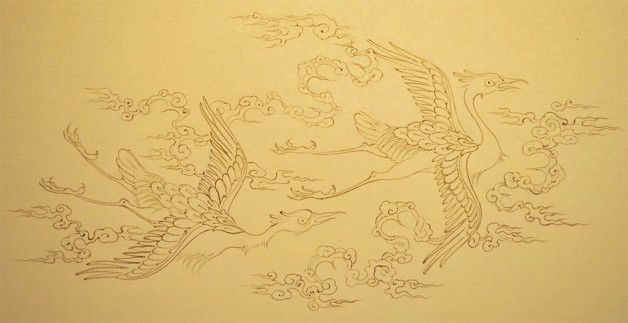 Part of a classic marginal design with flying storks and straop-clouds.