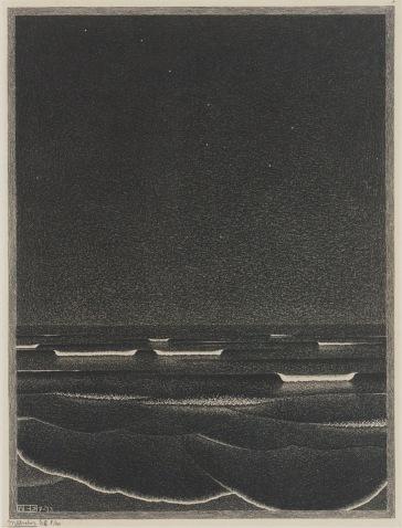 Phosphorescent Sea, M.C. Escher, 1933.
