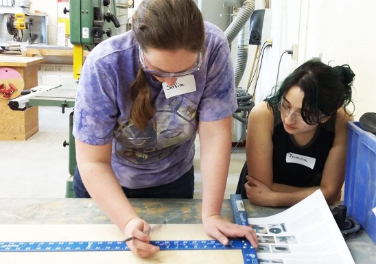 Sophia and Yomna measure out the table top for the rotary harmonograph