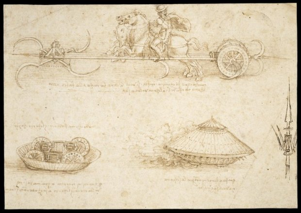 Leonardo da Vinci, study of scythed chariot and armoured car, pen and brown ink on paper, c. 1484 © The Trustees of the British Museum