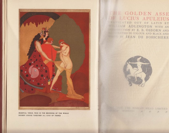 The Golden Asse of Lucius Appuleius, title page and frontispiece illustration, 1923